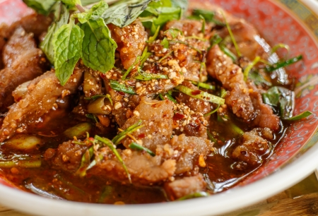 Larb beef Stock Photo
