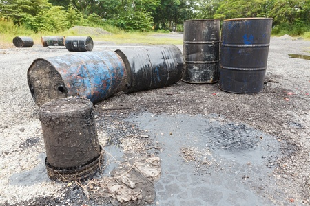 Empty barrels of asphalt