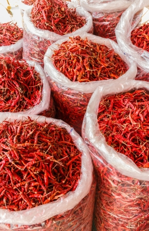 Dried red hot chili Stock Photo
