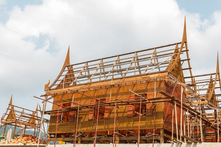 Traditional Thai house under construction