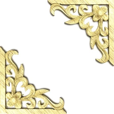 Pattern of wood frame carve on white
