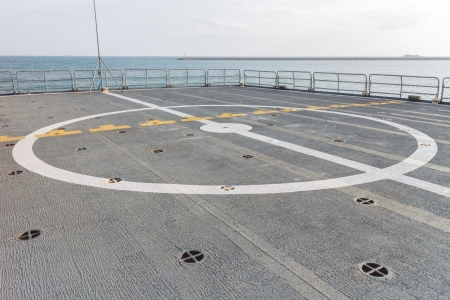 helicopter pad: Helicopter landing pad on the ship