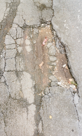 broken cracked asphalt pavement photo