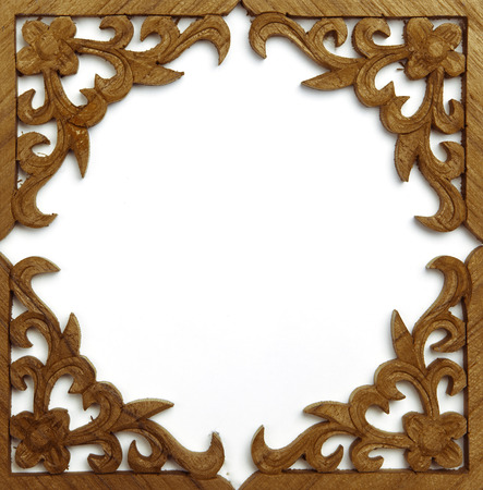 Pattern of wood frame carve on white photo