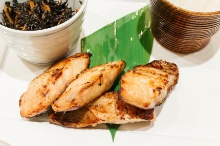 japanes: Grilled fish with salt,rice, sauces,soup,japanes e cuisine