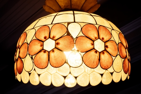 Lamp shade decorated with shells
