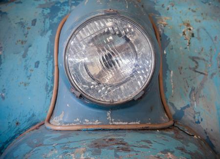 headlamp: vintage motorcycle headlamp Stock Photo