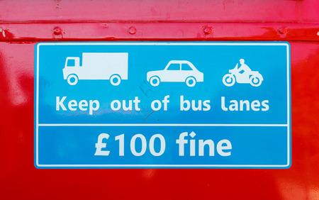 Public bus sign detail Stock Photo