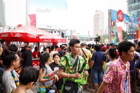BANGKOK, THAILAND - APRIL 12  Locals and tourists enjoy in  Bangkok Songkran Festival 2014 Thailand new year   at Central World on April 12,2014 in Bangkok, Thailand Editorial