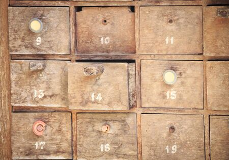 drawers: Stack of old wooden drawers
