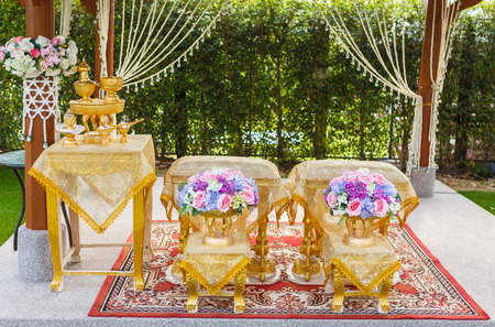 anointed: Set of decoration for hand pouring in thai wedding ceremony Stock Photo