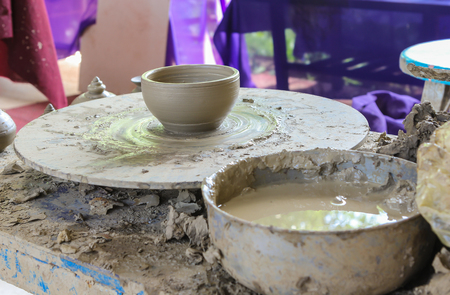 potters wheel: potter on the potters wheel