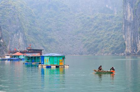 traditional Vietnamese fisherman in Ha Long Bay, Vietnam