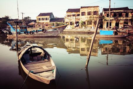 Vintage look Thu Bon River in Hoi An Ancient Town