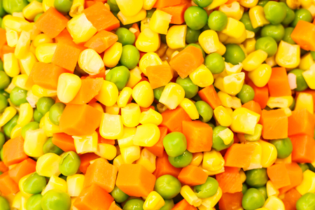 vegetable mixture of carrots, corn and peas.