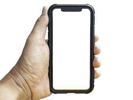Isolate an old smartphone with a protective case held in the right hand of a man about 50 years old in a white background