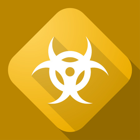 Vector icon of Bio Hazard Sign with a long shadow Vector