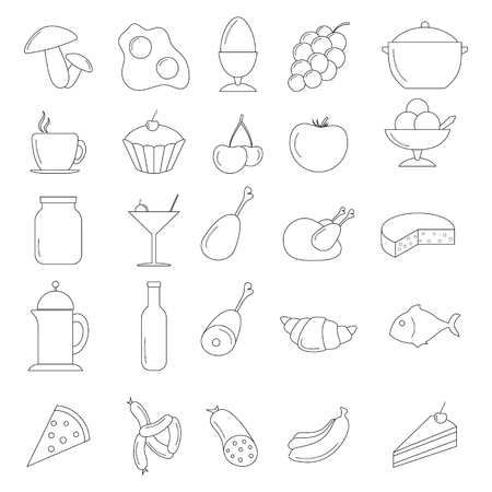 Line Food Icon set Vector