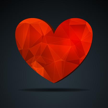 corazon cristal: Coraz�n de cristal rojo Vectores