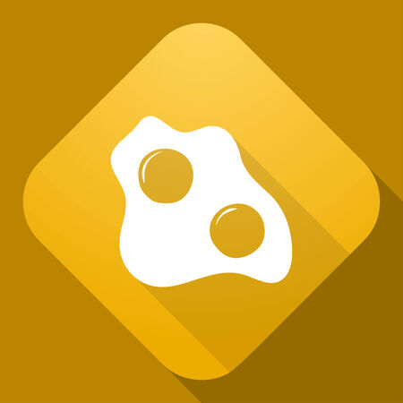 scrambled: Vector icon of Scrambled Eggs with a long shadow Illustration