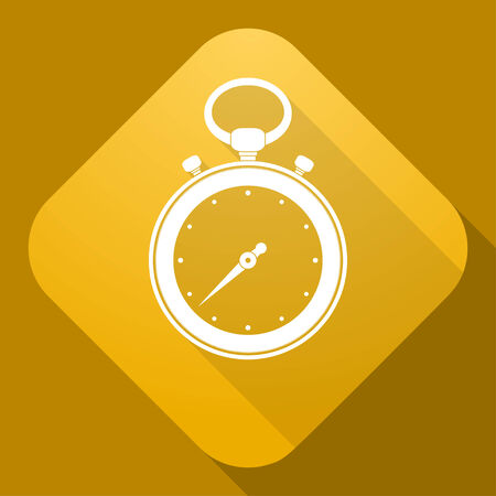 stop watch: Vector icon of stop watch with a long shadow