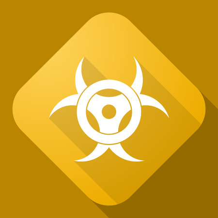 biochemical: Vector icon of Bio Hazard Sign with a long shadow Illustration