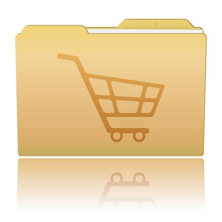 Folder with Shopping Cart Vector