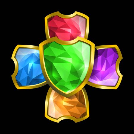 Crystal shields Vector