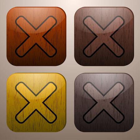 cruz de madera: Marcas de cruces de madera Vectores