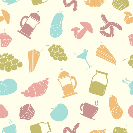 Vector illustration. Seamless pattern with Food Vector