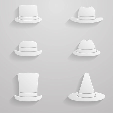 paper hats: Vector illustration. Paper hats icon set Illustration