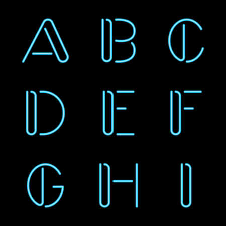 Vector illustration of Neon Letters Vector