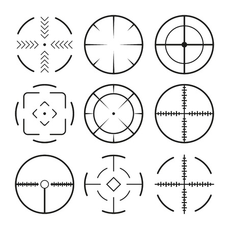 Set of black crosshairs icons. Isolated on white Vector