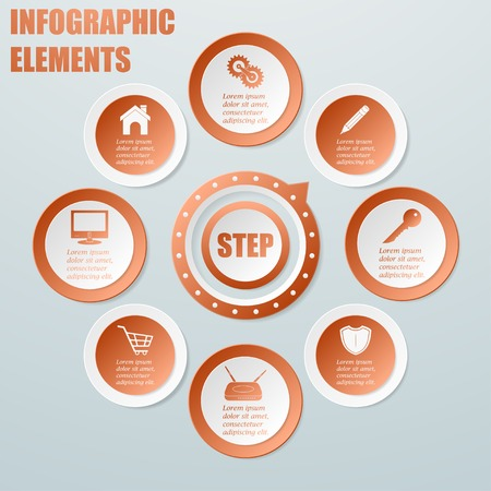 Business Info graphic from circles with pointer  Paper style illustration  Artwork can be used for workflow layout, number options, step up options, web design  Vector