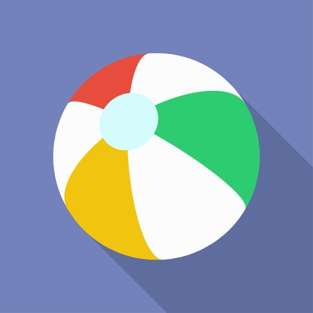 inflatable ball: Beach Ball icon. Modern Flat style with a long shadow Illustration