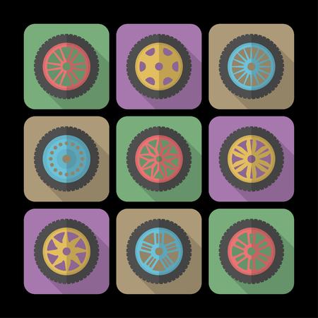 felgen: Set von Icons von einem Auto-Felgen. Moderne Flach Stil