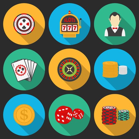 Colorful icon set on a casino theme. Gambling icons, casino icons, money icons Vector