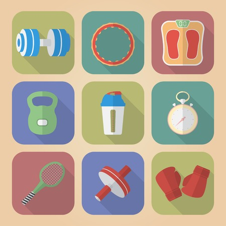 Set of Fitnes Icons. Modern flat style Vector