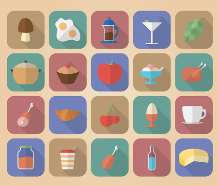 Set of food and drinks icons. Modern flat style with a long shadow. Vector
