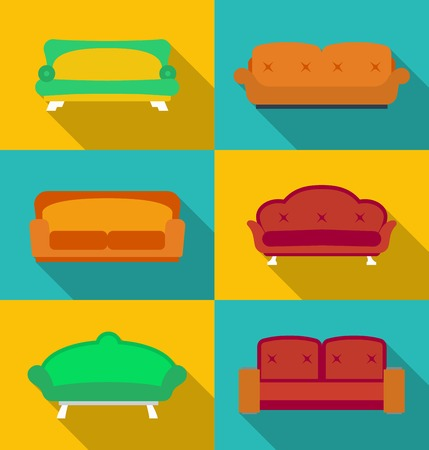 Icon set of Sofas. Modern flat style with a long shadow Vector