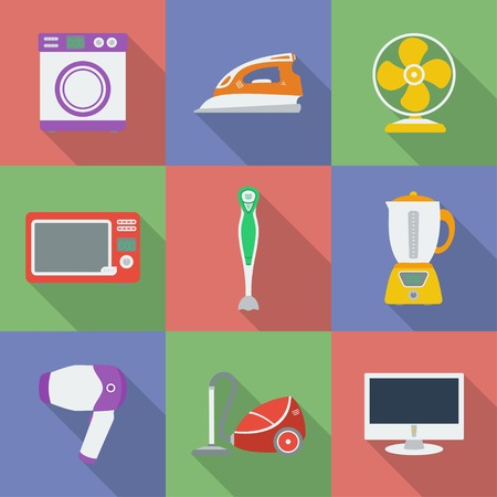 Colorful Icon set of Household appliance. Home kitchen devices. Modern flat style with a long shadow