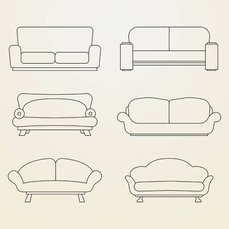 sofa: Icon set of Sofas. Thin line style Illustration