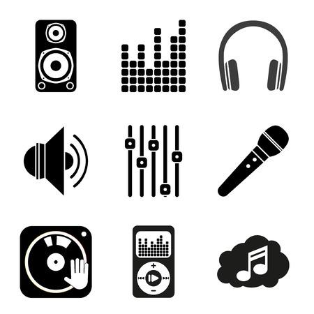 Reihe von Icons von Musikthema. Einfache schwarze Stil Standard-Bild - 30080621