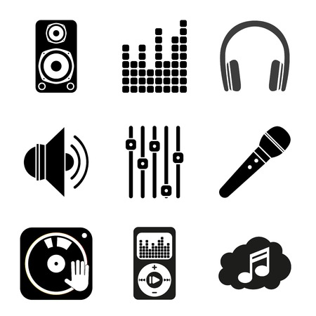 dj headphones: Set of icons of Music theme. Simple black style