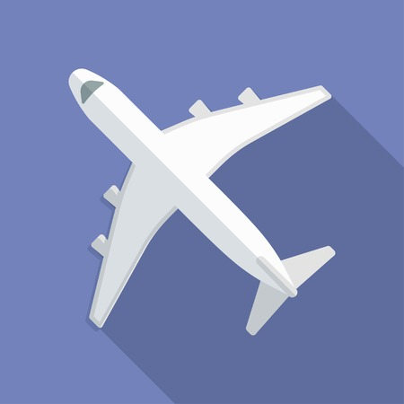 airplane icon: Airplane icon. Modern Flat style with a long shadow