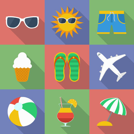 Set of icons of Summer travel theme.  Modern flat style with a long shadow. Vector