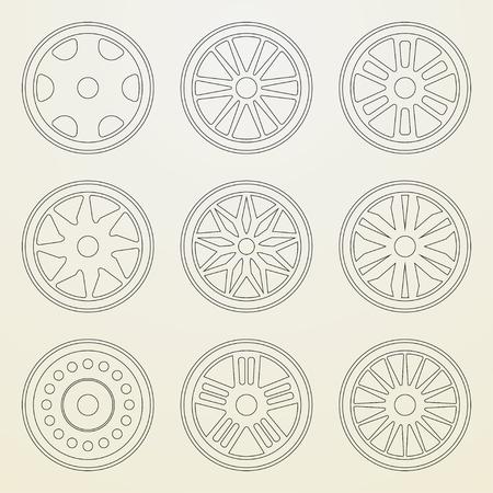 felgen: Set von Icons von einem Auto-Felgen. Thin Linienstil