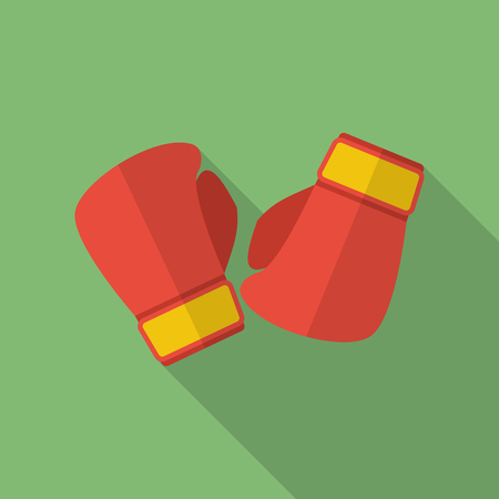 Boxing gloves icon. Modern Flat style with a long shadow