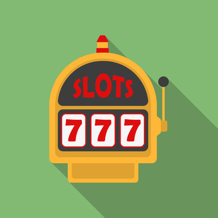Slot Machine icon. Modern Flat style with a long shadow Vector