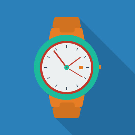 watch: Clock icon. Modern Flat style with a long shadow